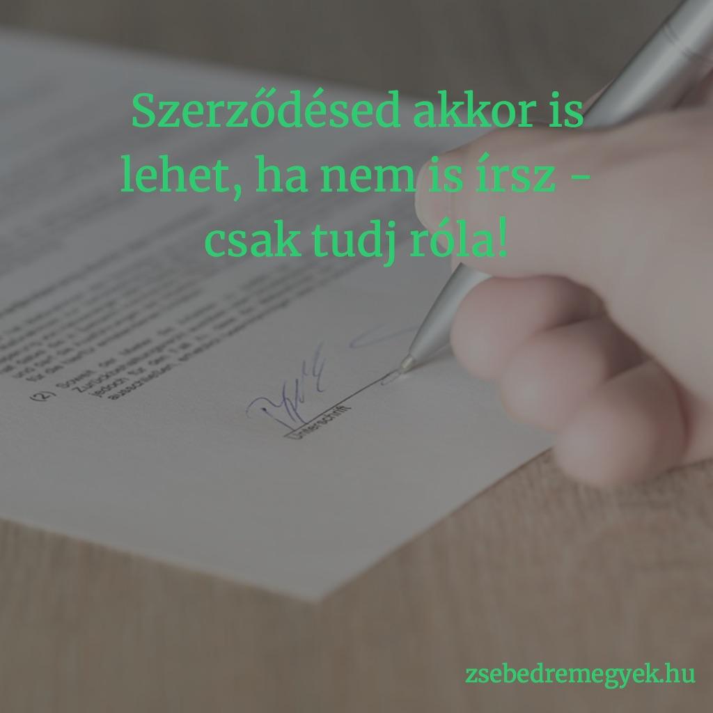 A szerződés határozottan hasznos dolog - de egyáltalán nem biztos, hogy csak akkor létezik, ha papír is van róla... Te tudod, mikor kötsz szerződést?